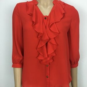 NWT Timing Orange Ruffle Front Elbow Sleeve Blouse